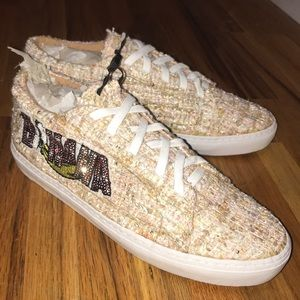 Woven Textured Sneakers with 'banana' sequined